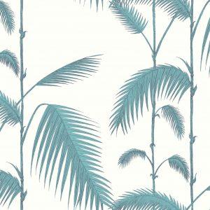 Papel Pintado Palmeras Hojas Azul Verdoso