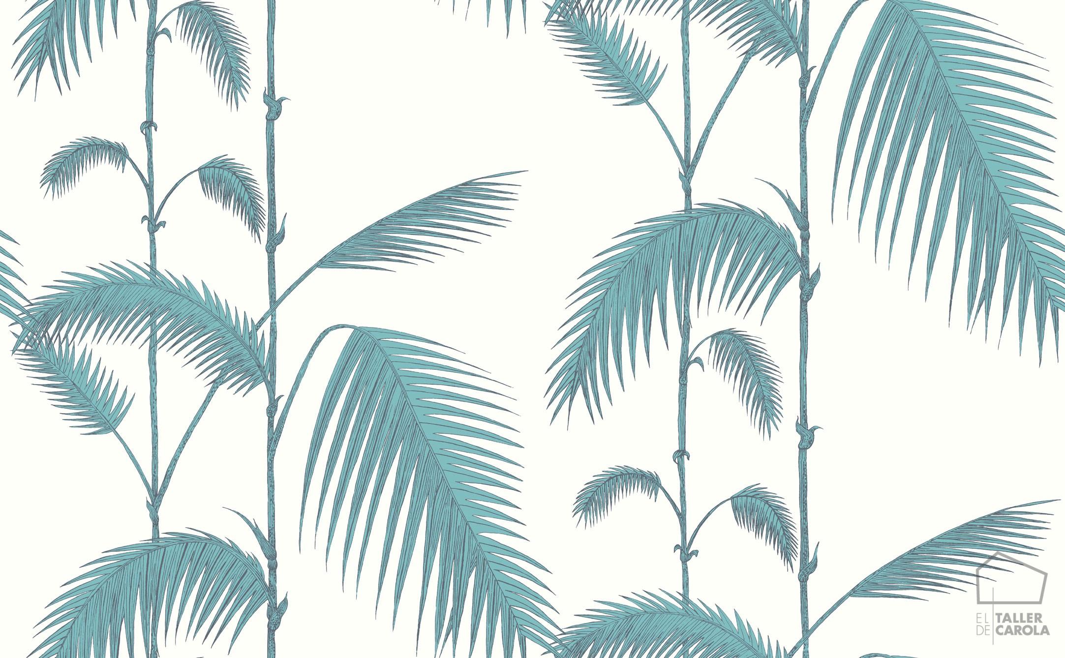 083pal-lea-66-2012 Papel Pintado Palmeras Hojas Vintage Azul Verdoso
