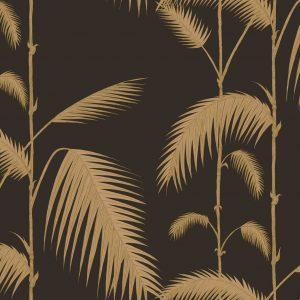 Papel Pintado Palmeras Vintage Negro y Oro