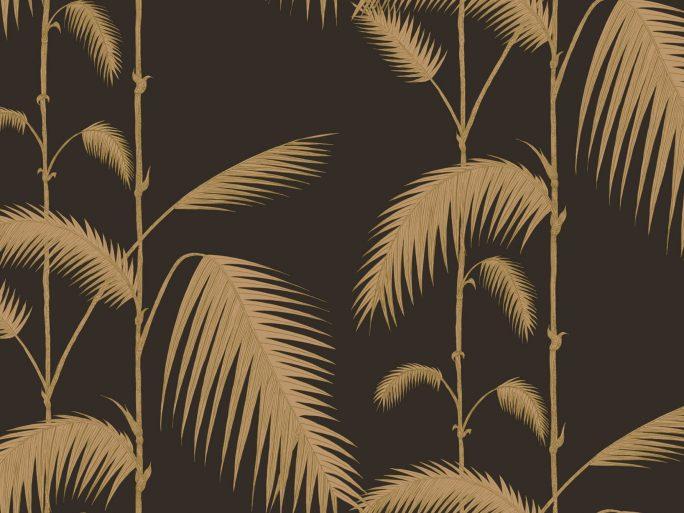 Papel Pintado Palmeras Vintage Negro y Oro 083pal-lea-66-2014