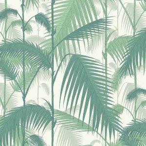 Papel Pintado Palmeras Verde y Blanco