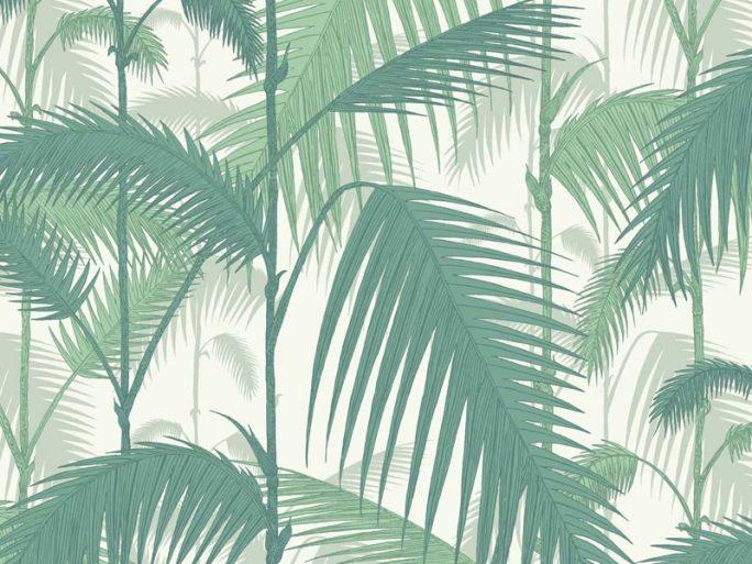 Papel Pintado Hojas Palmera Verde y Blanco