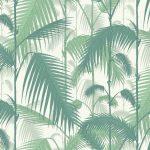 Papel Pintado Hojas Palmera Verde y Blanco 083paljun-95-1002