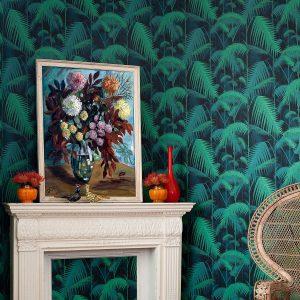 Papel Pintado Palmeras Verde y Azul Inteso