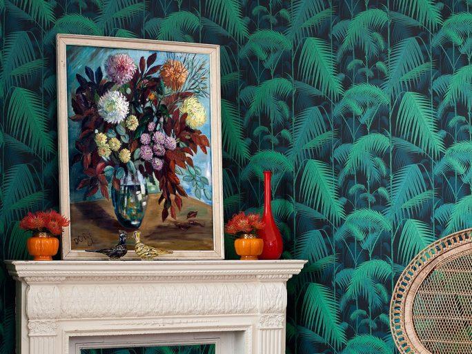 Papel Pintado Hojas Palmera Verde y Azul Intenso 083paljun-95-1002