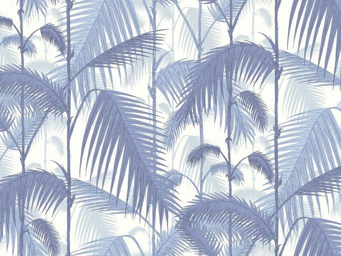 Papel Pintado Hojas Palmera Azules 083paljun-95-1005
