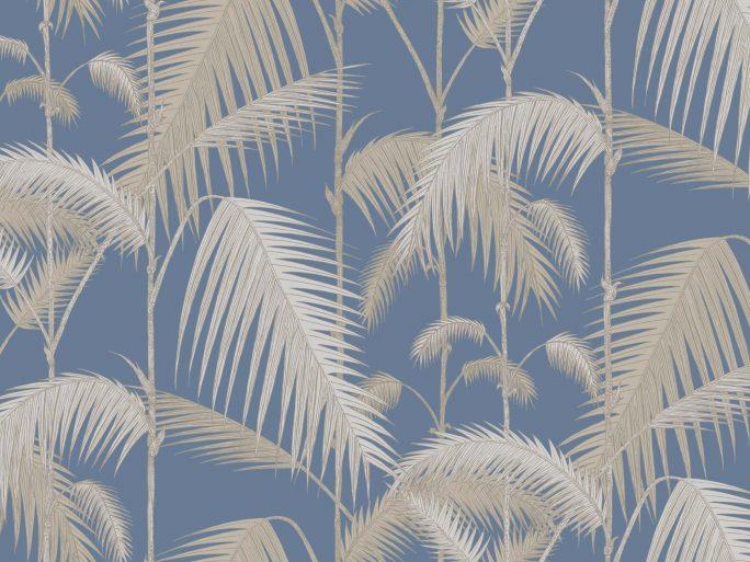 Papel Pintado Hojas Palmera Azul y Piedra 083paljun-95-1006