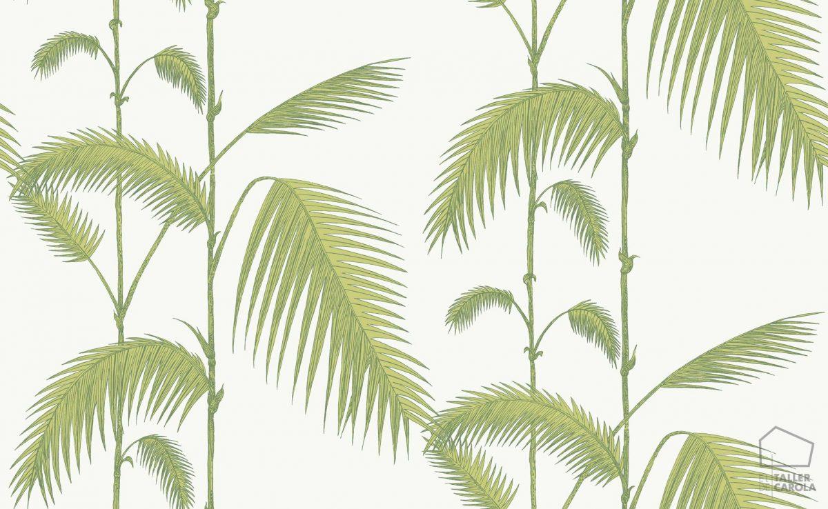 Papel Pintado Hojas Palmeras Verde Claro y Blanco 083paljun-95-1009