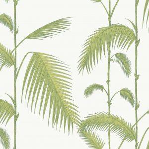Papel Pintado Hojas Palmeras Verde y Blanco