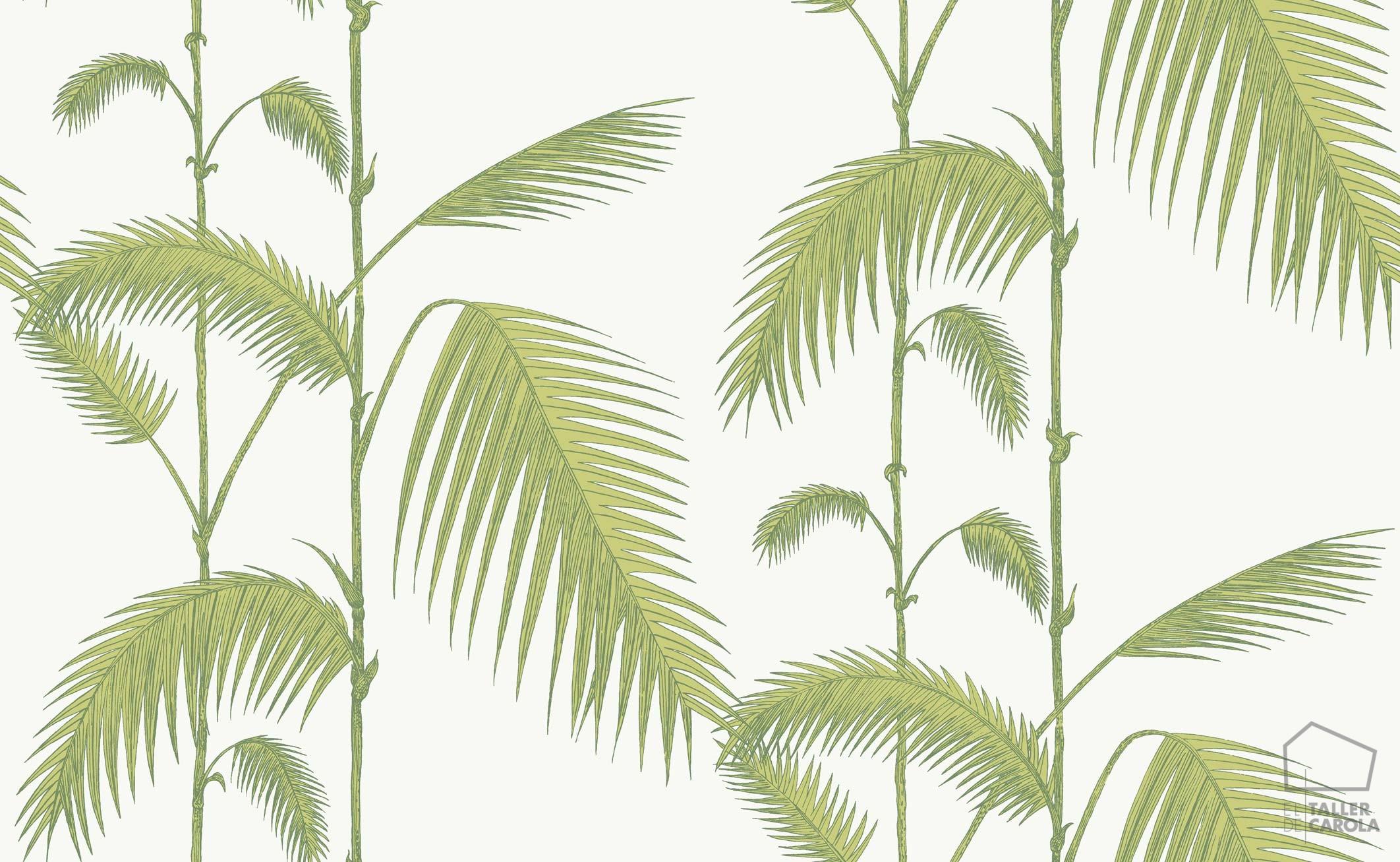 083paljun-95-1009 Papel Pintado Hojas Palmeras Verde Claro y Blanco