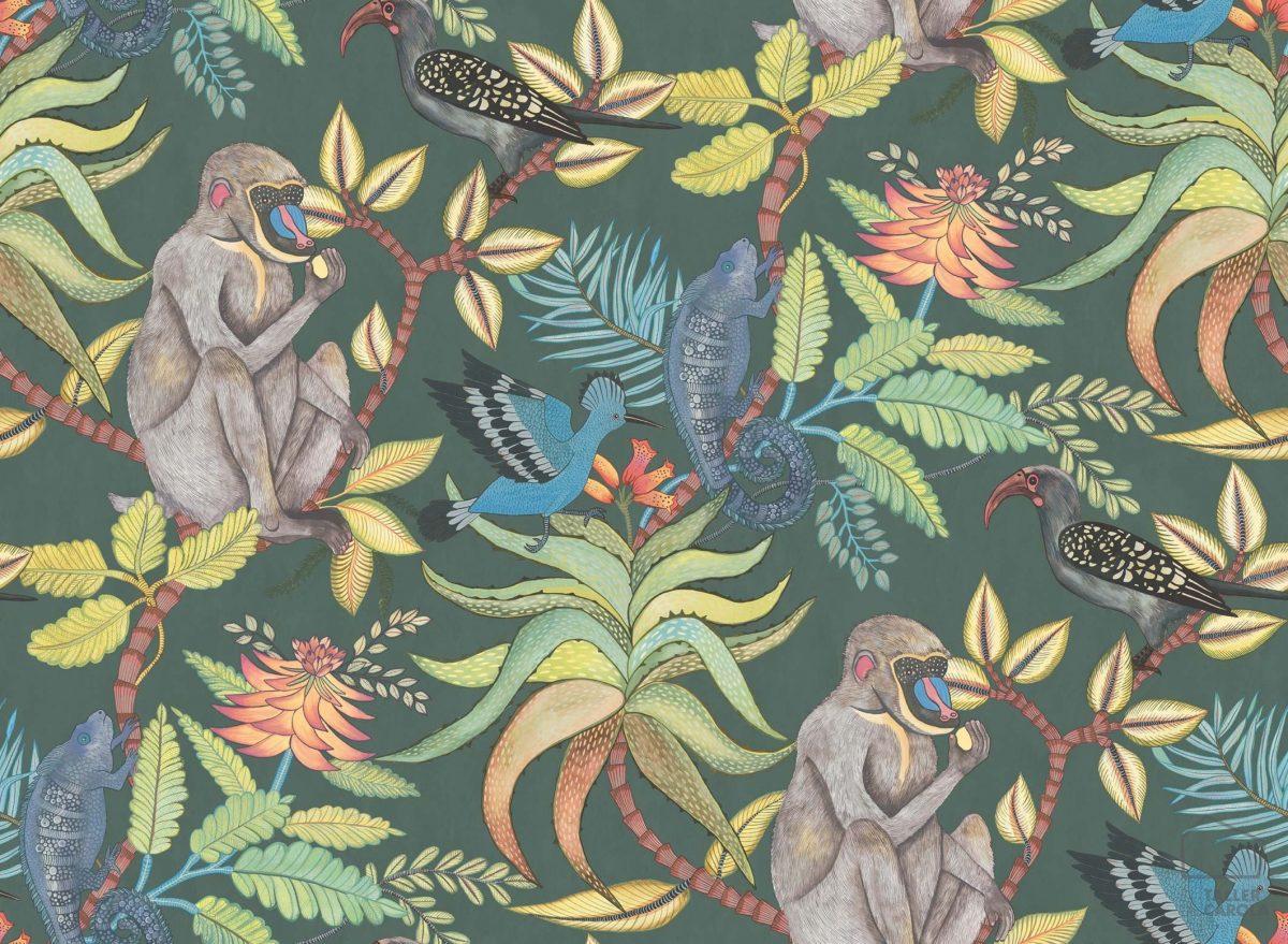 Papel Pintado Monos Vegetal Verde