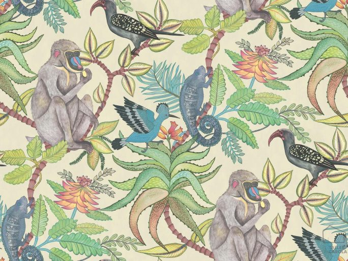 Papel Pintado Monos Vegetal Colores 2