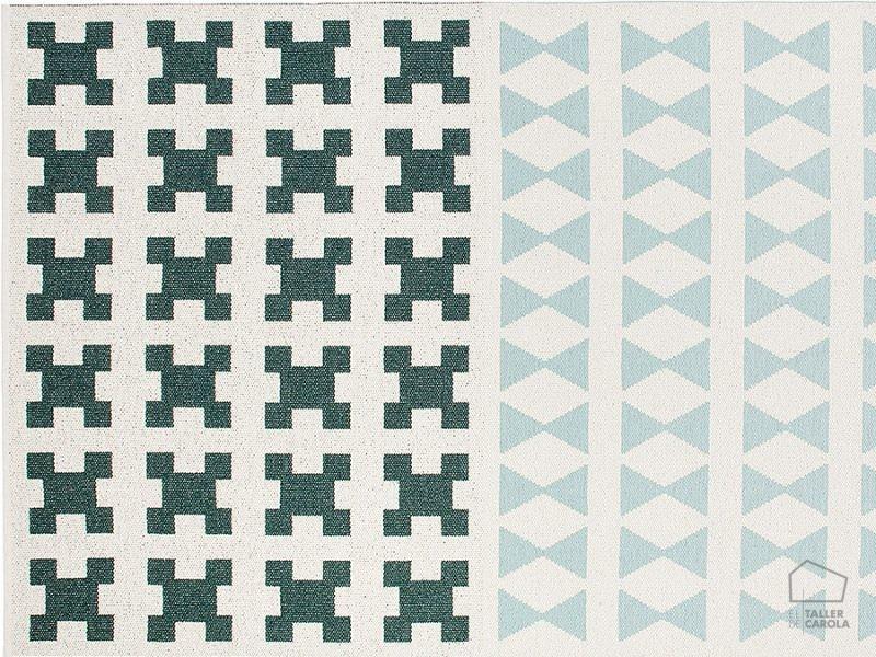 085paraqu14172503 Alfombra Sintetica Nordica Geometrica Verde Agua