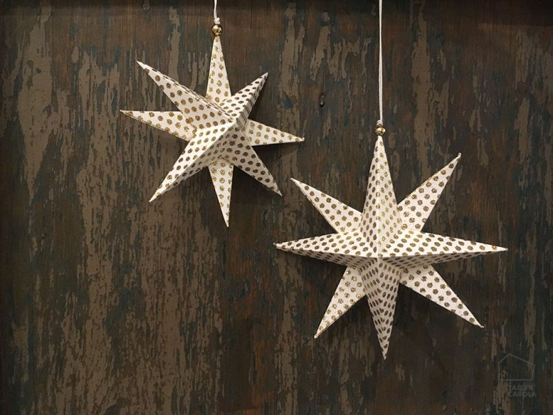 Adorno Navidad Estrellas Papel Purpurina