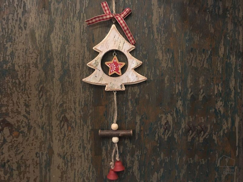 Adorno Navidad Guirnalda Madera Corteza Arbol
