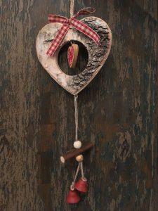 Adorno Navidad Guirnalda Madera Corteza Corazón