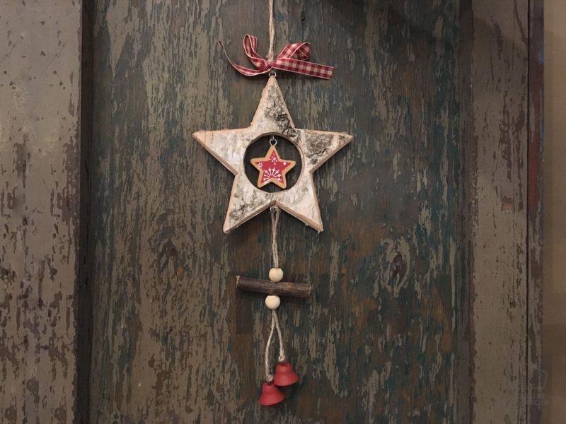 Adorno Navidad Madera Estrella Corteza