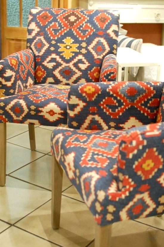 Telas tnicas con estampado kilim un traje a medida - Telas para sillas de cocina ...