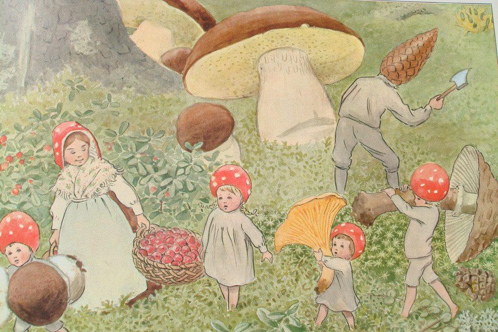 Elsa Beskow papel pintado infantil