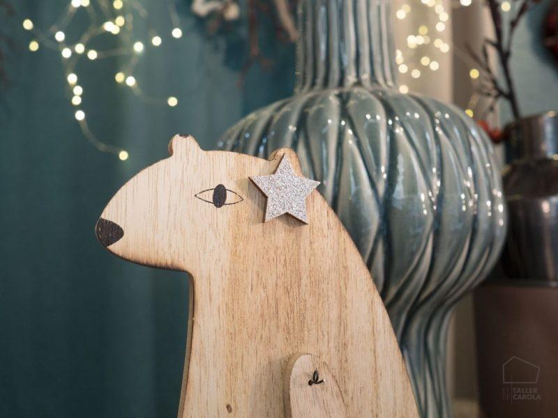 Adorno Navidad Oso madera