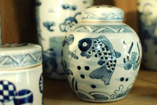 porcelana azul tibor pequeño