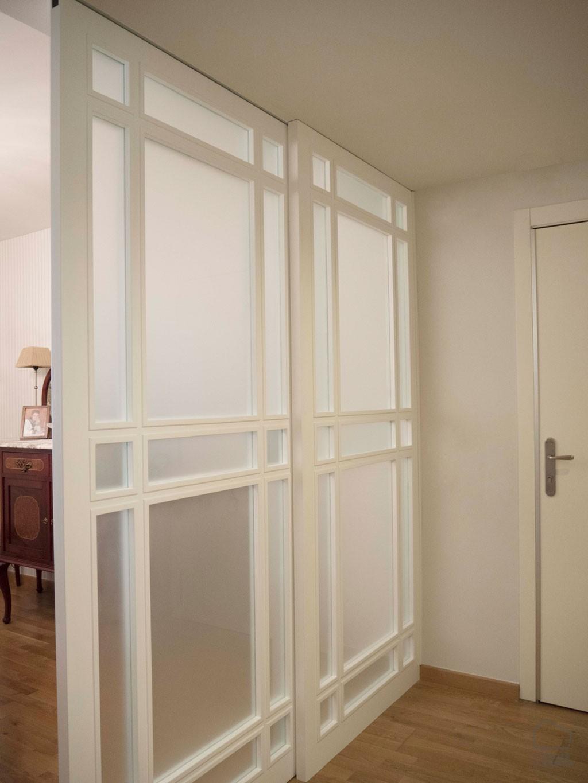 Puerta corredera madera cristal el taller de carola - Puertas cristal corredera ...