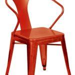067 Silla café roja estilo tolix